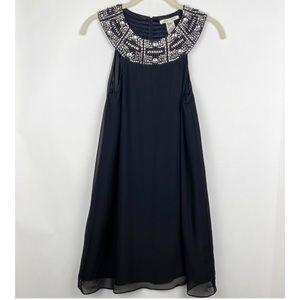 Alice + Olivia Beaded Silk Black Dress